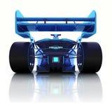 与地板反射的蓝色3D方程式赛车后面视图 库存图片