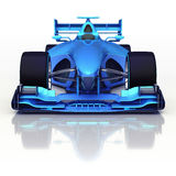 与地板反射的蓝色3D方程式赛车正面图 免版税库存照片