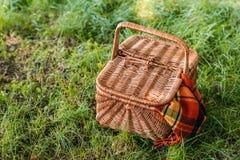 与地毯的柳条野餐篮子在绿草 免版税图库摄影