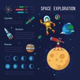 与地球、月亮和宇航员的探险空间 免版税图库摄影