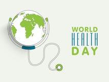 与地球和听诊器的世界卫生日概念 库存图片