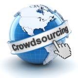 与地球和游标, 3d的Crowdsourcing标志 免版税库存照片