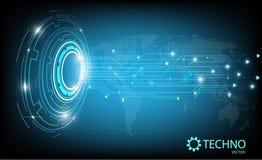 与地球地图的抽象圈子技术在蓝色背景 也corel凹道例证向量 库存照片