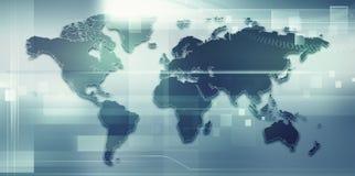 与地球地图的抽象techno背景 库存照片