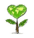 与地球地图的绿色心脏树 免版税图库摄影