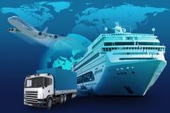 与地球地球和世界地图的运输 免版税图库摄影