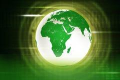 与地球的抽象绿色背景 库存照片