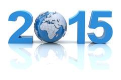 与地球的新年2015年, 3d回报 库存图片