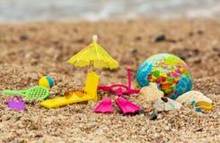 与地球的明信片旅客潜水,海滩和室外活动的, 库存照片