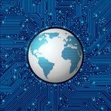 与地球的电路板框架 免版税库存照片