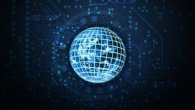 与地球的电路板背景:技术概念 库存图片