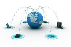 与地球的计算机网络 免版税图库摄影