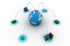 与地球的计算机网络 免版税库存照片