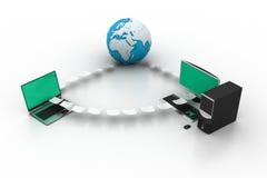 与地球的计算机网络 库存图片
