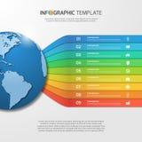 与地球的Infographic模板与9个选择,零件,步 免版税图库摄影