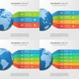 与地球的Infographic模板与3-6个选择 免版税库存照片