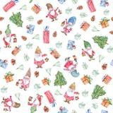 与地精、礼物和圣诞树,背景的水彩圣诞节无缝的样式 免版税库存照片