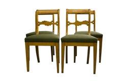 与地道织品的古色古香的Biedermeier椅子 免版税库存照片