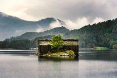 与地面屋顶的挪威小屋 免版税库存照片