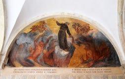 与场面的壁画从阿西西圣法兰西斯生活  图库摄影