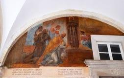 与场面的壁画从阿西西圣法兰西斯生活  免版税图库摄影
