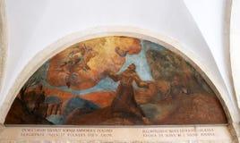 与场面的壁画从阿西西圣法兰西斯生活  库存图片