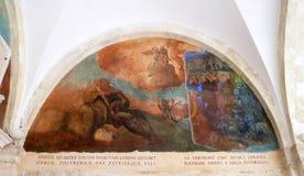 与场面的壁画从阿西西圣法兰西斯生活  免版税库存图片