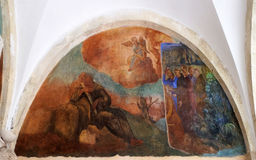 与场面的壁画从阿西西圣法兰西斯生活  库存照片