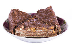 与坚果和巧克力的蛋糕 免版税库存图片