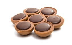 与坚果的块菌状巧克力 库存图片