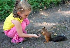 与坚果的小女孩哺养的灰鼠 图库摄影