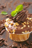 与坚果的巧克力松饼 库存照片