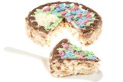 与坚果的蛋白甜饼蛋糕,装饰用从奶油的色的花 图库摄影