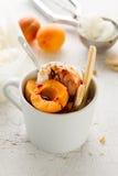 与坚果的鲜美新鲜的冷的开胃香草冰淇淋,杏子 免版税库存图片