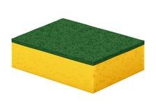 洗与坚硬绿色清洁涂层的盘子的黄色泡沫橡胶海绵 免版税库存图片