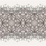 与坛场元素的无缝的样式边界 可耕的 向量例证