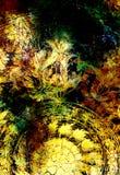 与坛场形状的Filigrane花饰在宇宙backgrond,计算机拼贴画 向量例证
