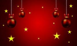 与垂悬球状圣诞节装饰的背景 免版税库存照片