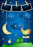 与垂悬的月亮、摇摆、鸟和相框的超现实的夜 库存例证