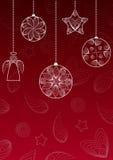 与垂悬的球、天使和星的圣诞节背景 皇族释放例证