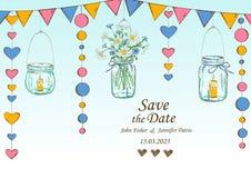 与垂悬的瓶子和花的装饰的婚礼邀请 库存图片