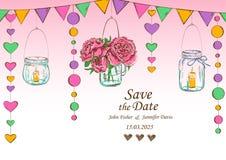 与垂悬的瓶子和花的装饰的婚礼邀请 免版税库存图片