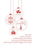 与垂悬的装饰品的红色圣诞节印刷术卡片 免版税图库摄影