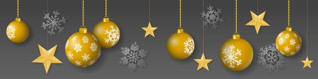 与垂悬的金子的无缝的冬天传染媒介上色了装饰的圣诞节装饰品、星和雪花在灰色背景 库存例证