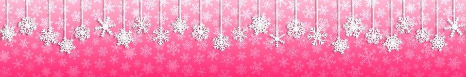 与垂悬的雪花的圣诞节横幅 免版税库存照片