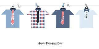 与垂悬的领带的愉快的父亲节贺卡和衬衣导航背景 免版税库存图片