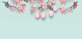 与垂悬粉红彩笔复活节彩蛋的复活节横幅和春天开花在光在蓝色绿松石背景 库存照片