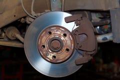 与垫电动子的车轮闸生锈的圆盘 库存照片