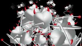 与垫铁和尾巴的落的恶魔心脏在白色颜色 库存例证