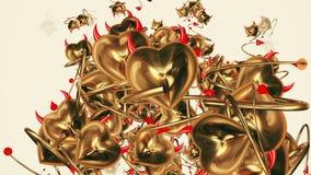 与垫铁和尾巴的落的恶魔心脏在金黄颜色 库存例证